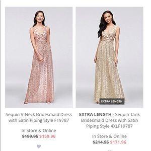 NWT Sequin V-Neck Bridesmaid Dress / Satin Piping